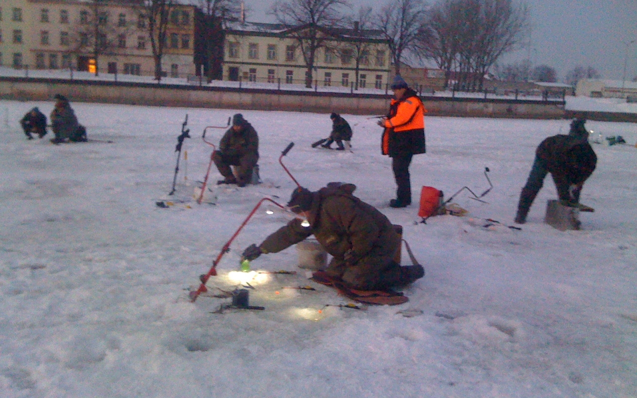 Fishing on the canal in Liepaja