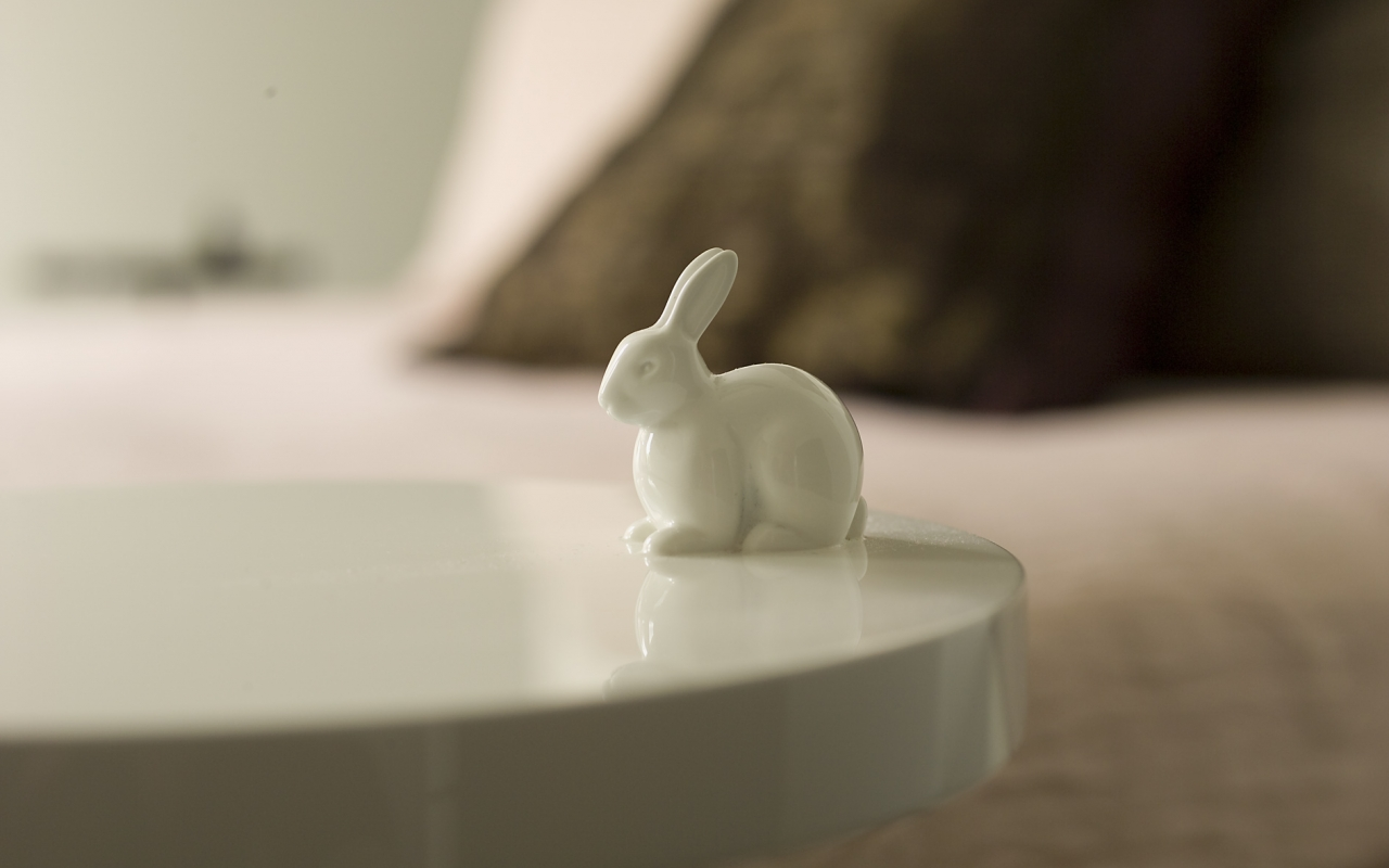 Ligne Roset Pan Rabbit tables in bedroom