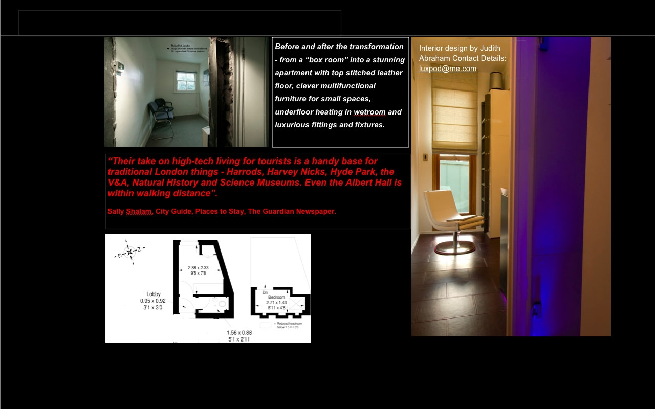 Before and after photos of TheLuxPod studio 101 square feet (9 square metres)