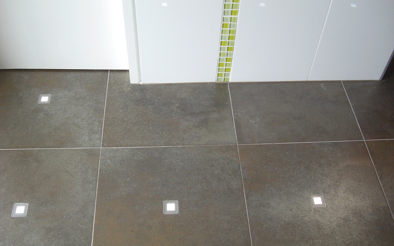 LED tiles in floor for evening